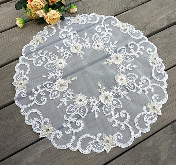 4Psc 42cm Round Placemats for Kitchen Table Mat Cloth Lace Pad Cup Mug Pan Doilies Coffee Cup Wedding Dining 6CD008