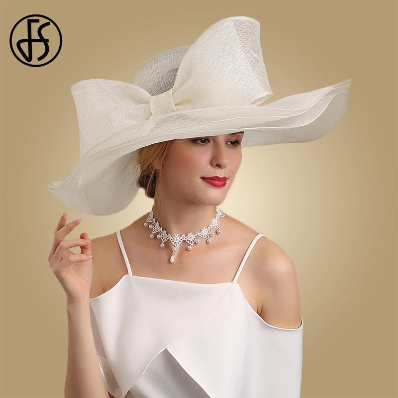 Fs bianco e nero elegante Fascinator Cappelli per la chiesa di nozze Sinamay cappelli con grande Bowknot Kentucky Derby Hat Fedora Tea Party KywqI