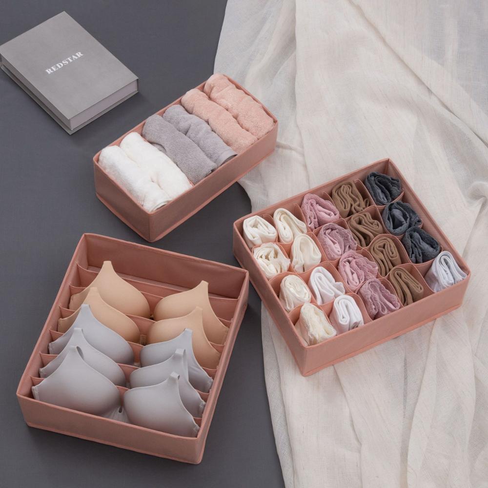 3PCS / Set tiroir organisateur sous-vêtements en tissu non tissé Bras organisateur boîte de sous-vêtements Pliable Armoire boîte de rangement des vêtements de T200319