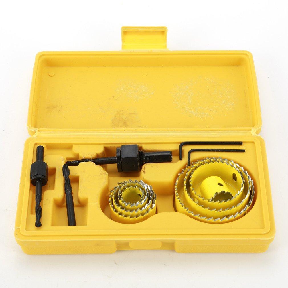 8pcs Foret Set 19-64mm Touche rotative Touche Scie Kit de trousse de travail à bois Coupeur Mandring Mandring Trous de forage Accessoires Puissance en bois