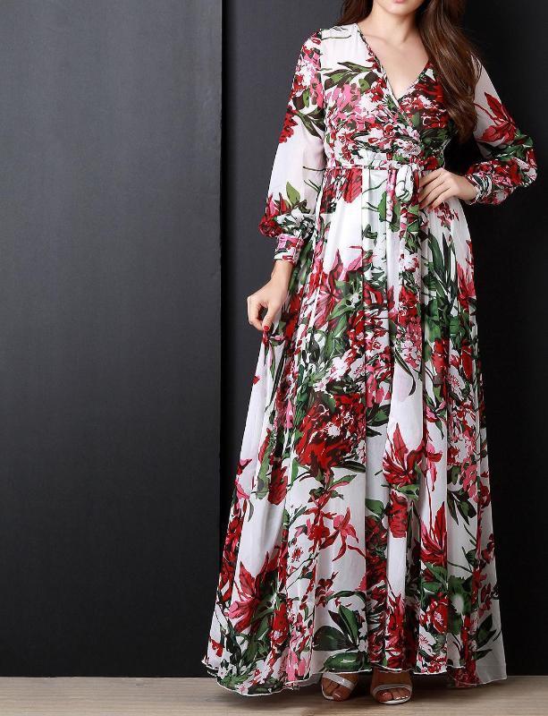 2019 femmes manches longues en mousseline de soie plissée robes imprimé floral Maxi robe longue Jupettes V-Neck Robe Taille Plus Vestidos