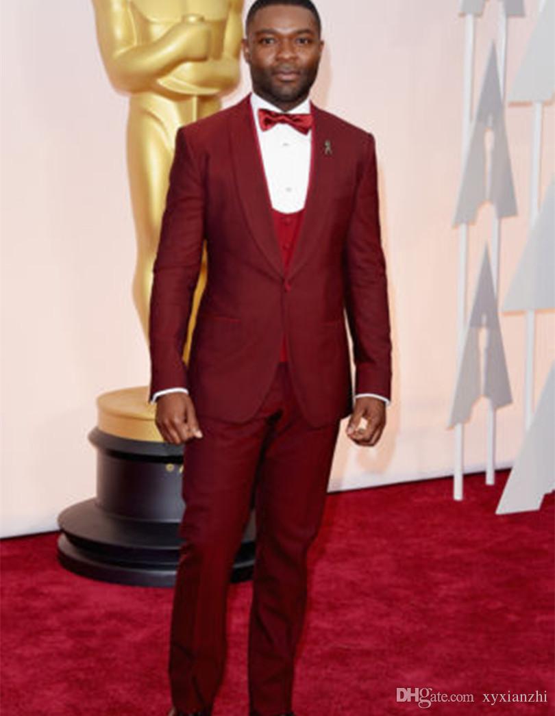 Erkekler için Düğün Takım Elbise Smokin Damat Giyim Şarap Kırmızı Custom Made 2021 Fishion Suit