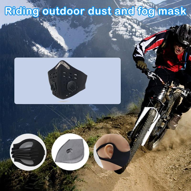 Cycling Protective Face Masks With Filter Black Activated Carbon PM2.5 Anti-Dust Sports Running Training Road Bike Reusable Masks FY9037