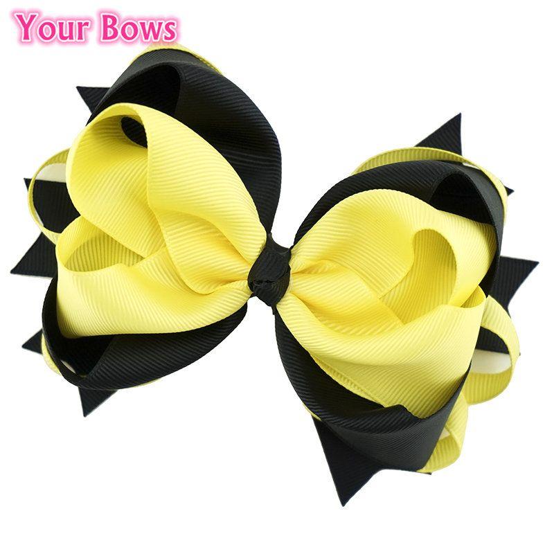 5.5 Inches Yellow and Black Hair Bows Girls Hair Clip Hairpins Flower Headband 2017 Cute Headwear For Girls Hair