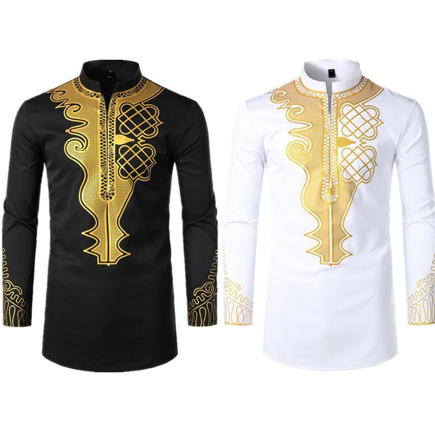 Ropa de manga larga para hombres Camisa Vestidos de moda africana Estampado Rich Bazin Dashiki 2019 Nuevo Slim Fit Mens Top Clothing S-2XL