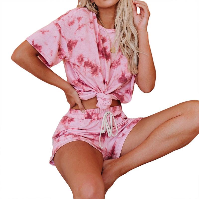 Donne Sportswear 2Pcs Tie-dye allentato esecuzione Suit T-shirt Yoga Tops Shorts a vita alta Sport Set Yoga Donne Suit Set Attivo / 2