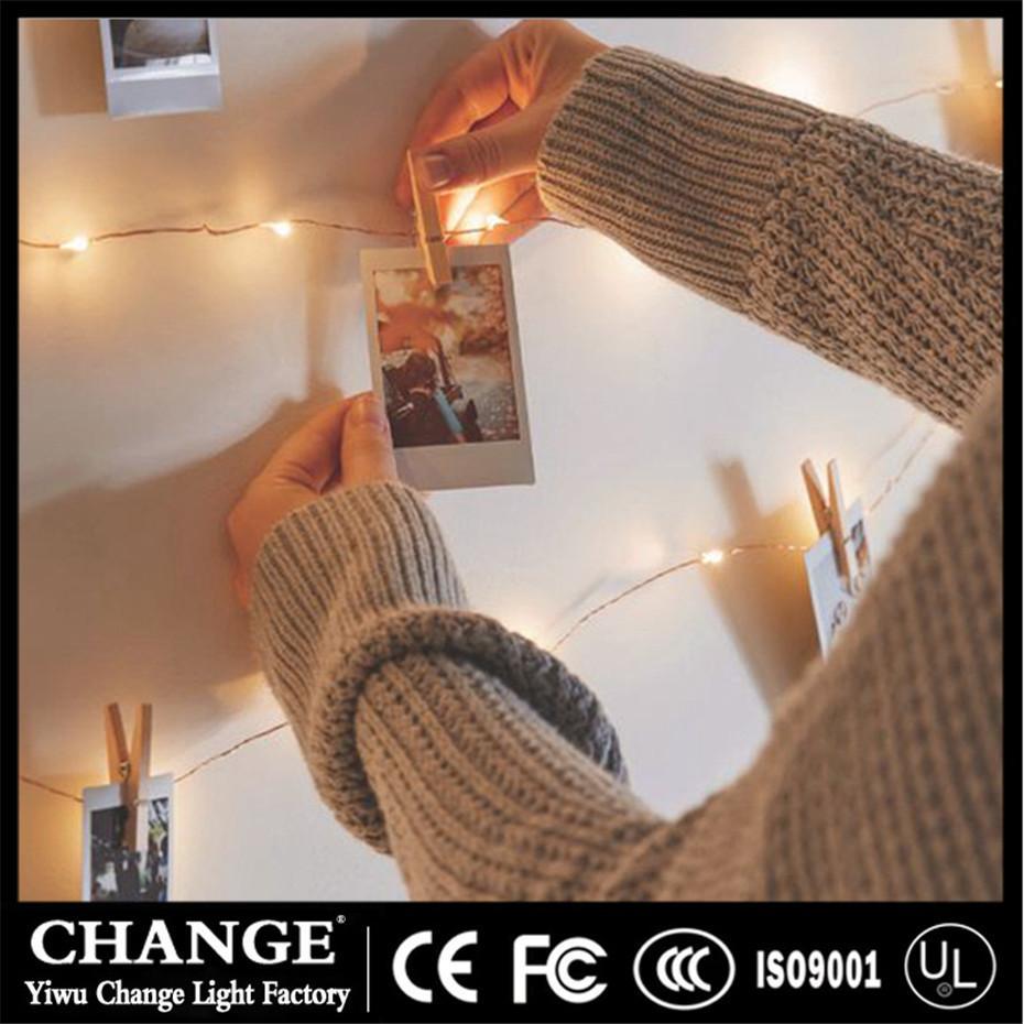 Fio de cobre 5M 10M LED s com madeira Clothespins a pilhas Garland para Photo Titular de aniversário do casamento do Natal