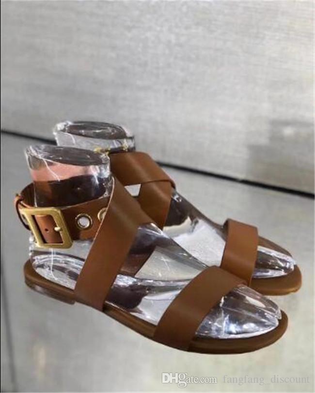 Новые дамы крест ремень сандалии металлические пряжки плоские сандалии черный коричневый женщины лето кожа ретро все Матч сандалии