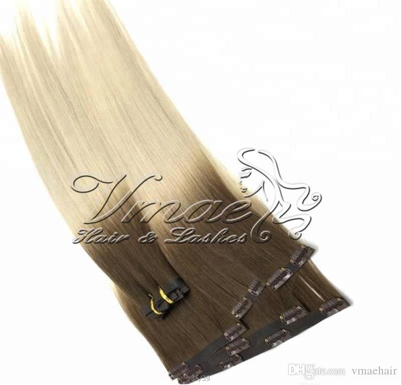120g 금발 Omber 직선 버진 레미 인간의 자연 색 갈색 머리 확장에서 브라질 표피 정렬 PU 위사 원활한 클립