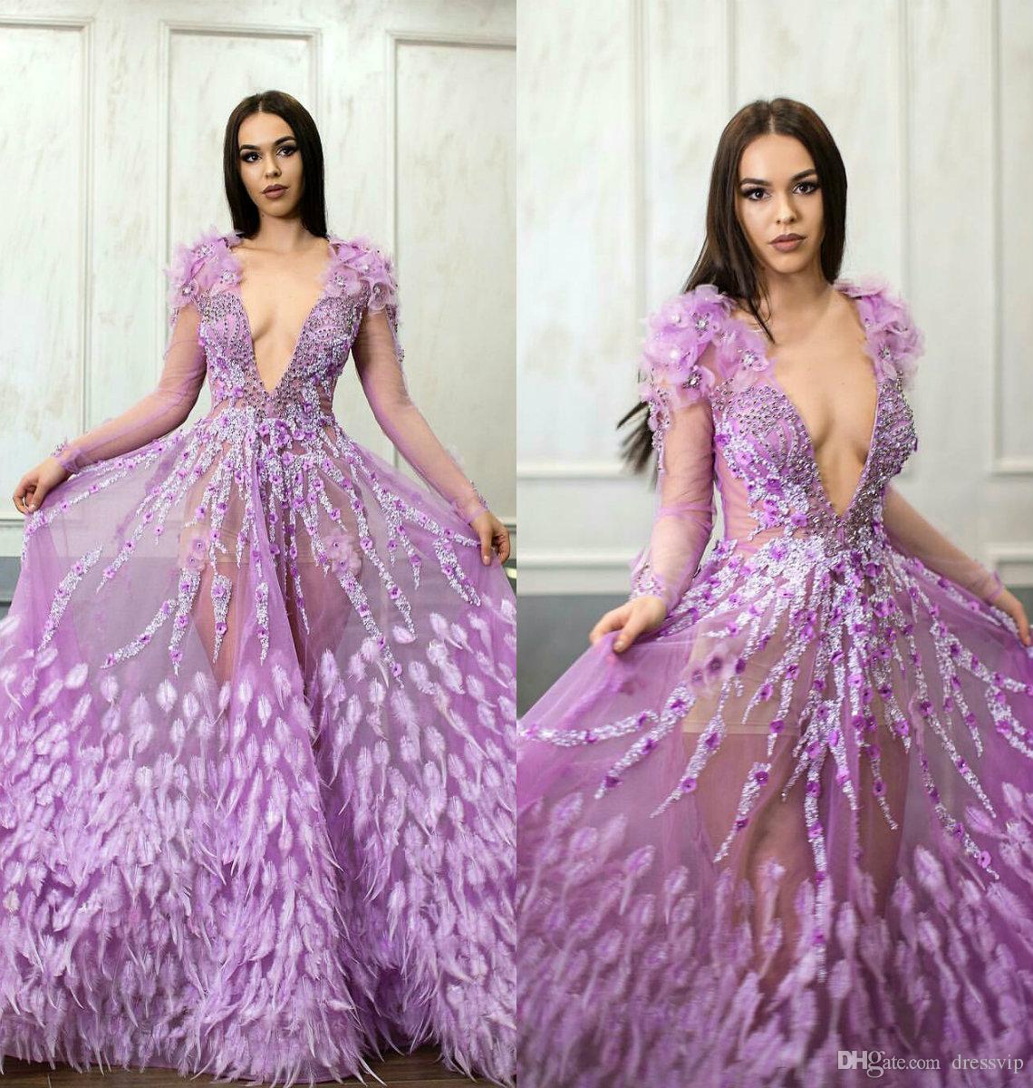 2019 Sheer Manga larga, púrpura, vestidos de noche, cuello en V profundo, cuentas de encaje, apliques, plumas, vestido de fiesta, una línea de hadas personalizados, vestidos formales de fiesta