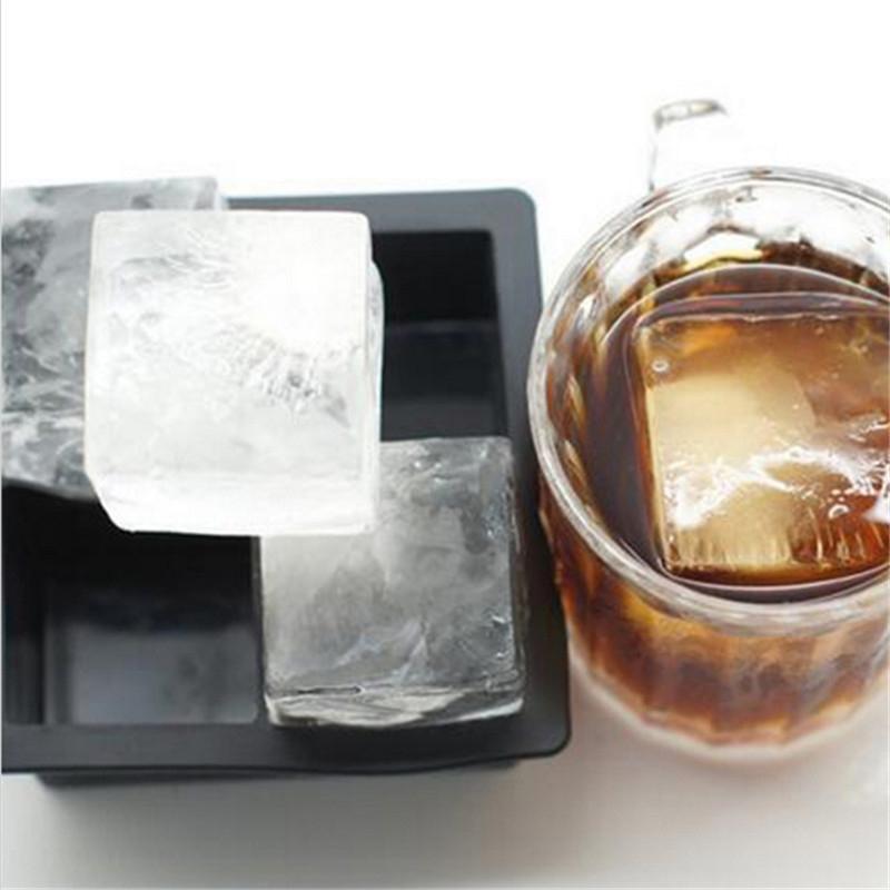 Черный Большой Jumbo King Size Большой Силиконовые Ice Cube Square Лотки Mold DIY Плесень
