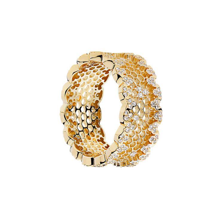 Pandora 925 Silver petek Yüzük Seti için 18K Sarı altın Kadınlar Düğün cz Elmas Yüzük Orjinal Kutusu