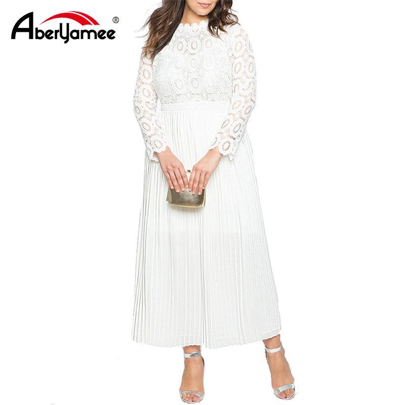 Plus Size Mulheres Branco Elegante Longo Vestido de Manga Comprida Primavera O Pescoço Do Vintage Vestido para As Mulheres Lace Patchwork Sexy Vestidos de Festa