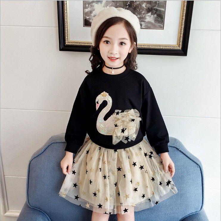 Bastante manera muchachas dulces Dos piezas Juego de Niños lindo cisne estrella Impreso juego del bebé de la camiseta larga y falda del tutú Conjunto