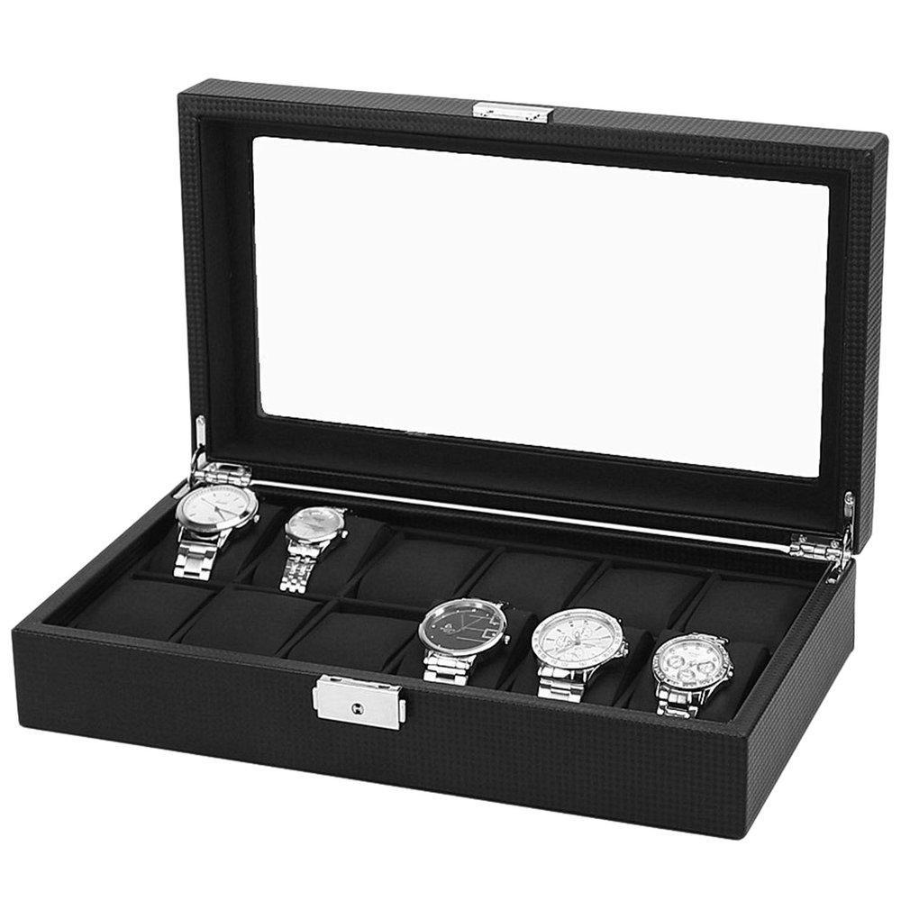 Роскошные 6/12 Сетки Часы Box Углеродного Волокна Pattern Часы Ящик Для Хранения Часы Дисплей Слот Чехол Для Хранения Организатор