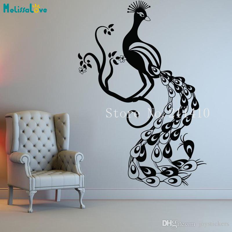 Vinyl Animal Wall Sticker Beautiful Peacock Decals Home Decor For Living Room Bedroom 3D Removable Art Murals Gift