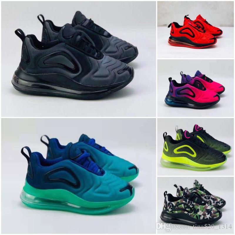 Nike air max 720 أحذية أطفال جديد بوي فتاة أزرق أحمر أسود رمادي الرياضية عالية الجودة الطفل الأطفال مصممي الأزياء أحذية رياضية أحذية البولينج size28-35