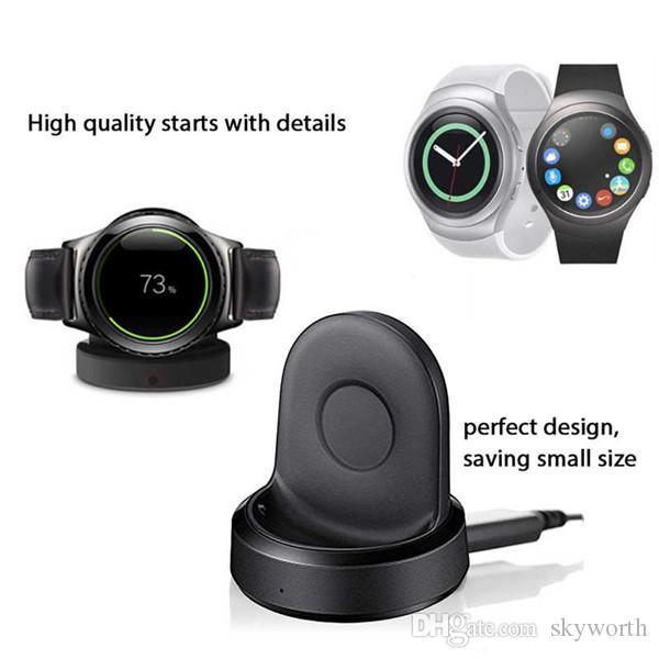 아니오 난방 장치 무선 충전 도크 크래들 충전기 삼성 기어 S4 S3 스포츠 시계 USB 케이블 소매 패키지 고품질