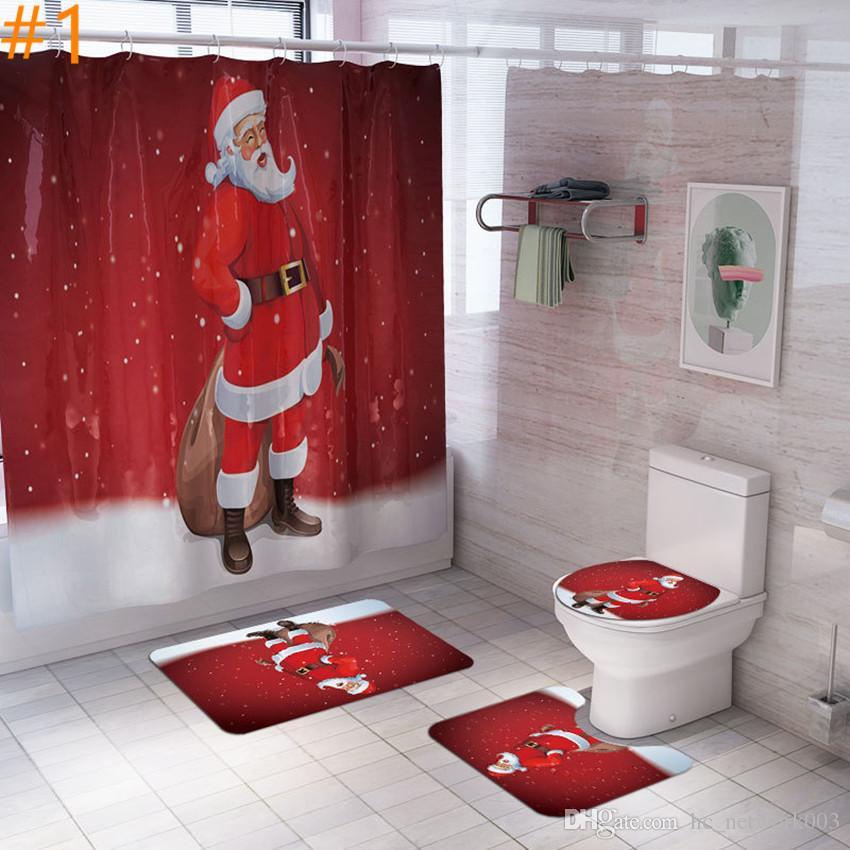 Natale Shower Curtain Carpet Set con la stuoia della copertura di sede Combinazione bagno Mat servizi igienici bagno Curtain Set A03