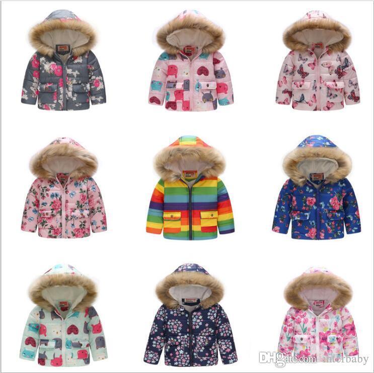 Filles fourrure à capuche pour enfants en coton rembourré Manteaux d'hiver Down Jacket Garçons Thicken Outwear Print Designer Vêtements d'extérieur pour enfants 14 Designs AYP6335