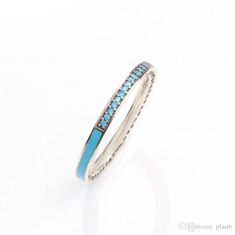 925 Anillo de plata de ley se ajusta Pandora joyería Radiante del Corazón de aire azul rosa esmalte sintético espinela mujeres anillo de plata joyería