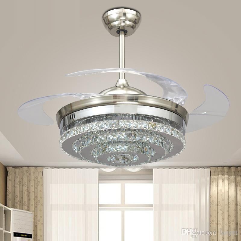 Işıklar Yatak Katlanabilir Tavan Işık Fan Uzaktan Kumanda ventilador de teto 220v ile Modern LED Görünmez Kristal Tavan Fanları