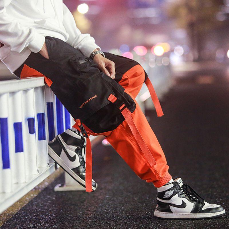 Retalhos Casual calças da carga Sweatpants Calças Homens trabalham longas suor masculino solta uns bolsos de calças azuis Moda Hip Hop Parkour Calças V191109