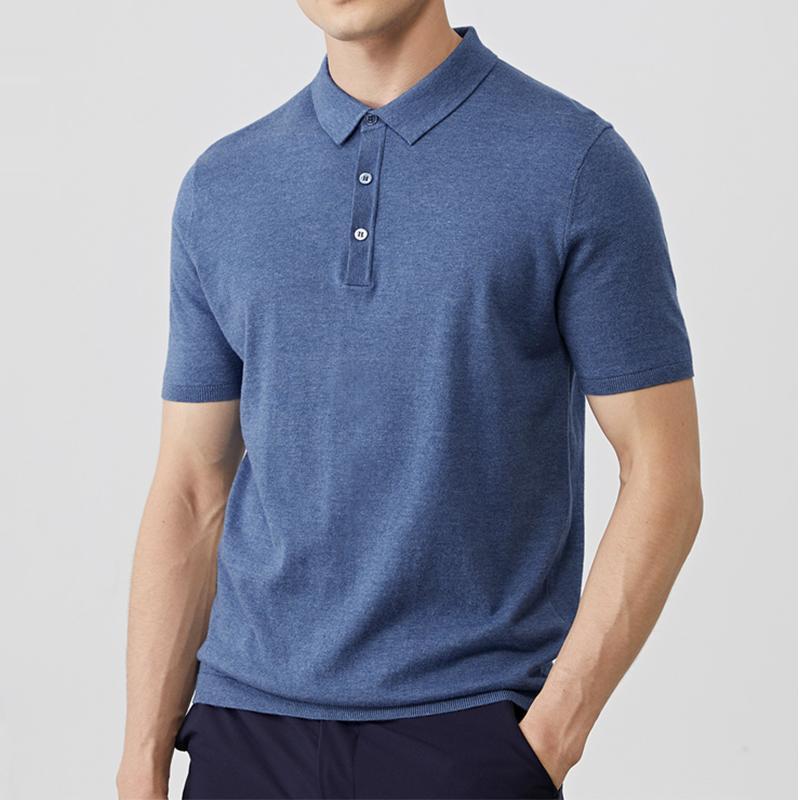 MuLS Klasik Gömlek Erkekler Pamuklu Örme Yaz Katı Kısa Kollu Kazak Erkek Kazak Trun aşağı Yaka Artı boyutu 4XL