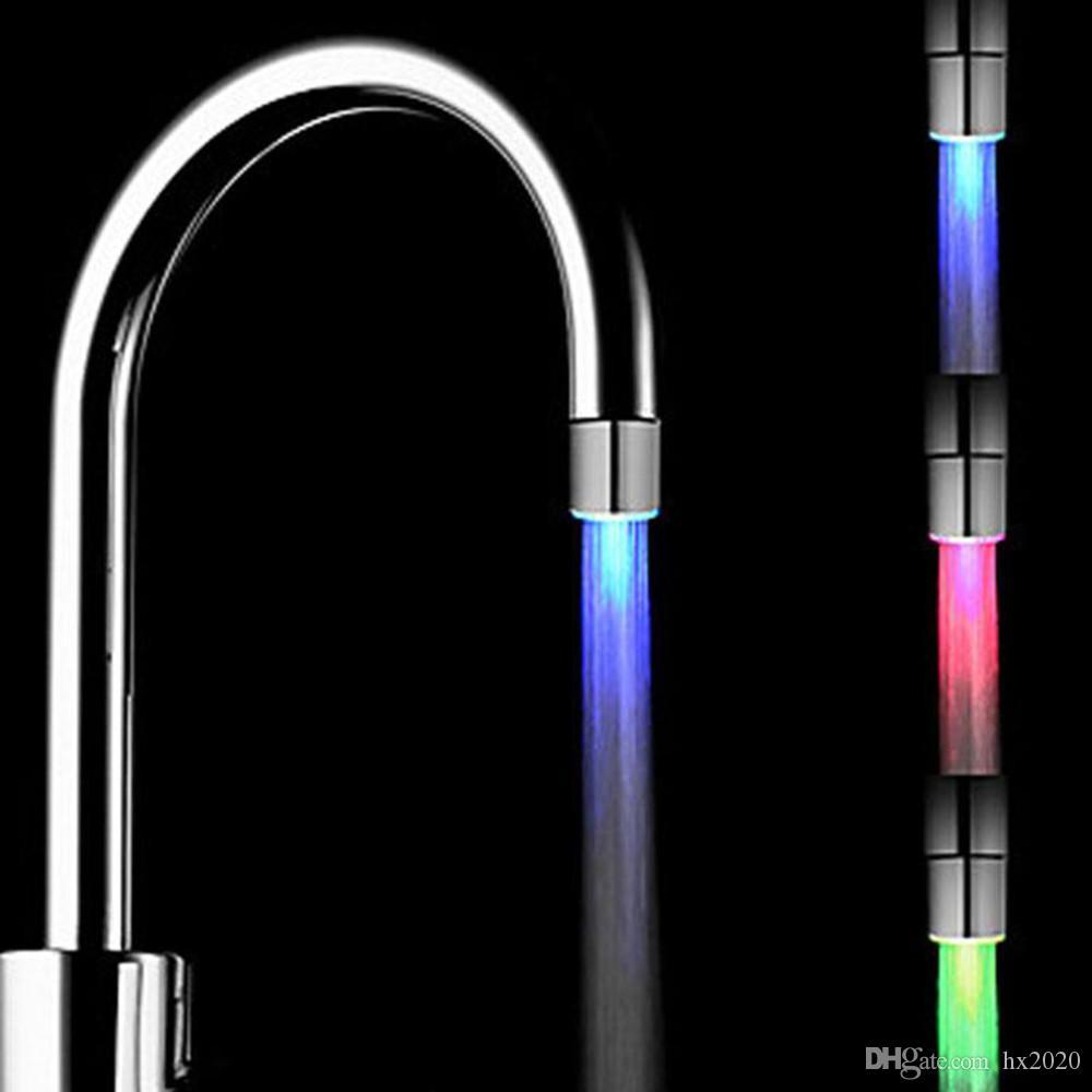 7 ألوان تغيير الصمام المياه دش رئيس الخفيفة RGB درجة الحرارة التي تسيطر الوهج LED الحنفية مع محول للحصول على أفضل مطبخ حمام JXW341