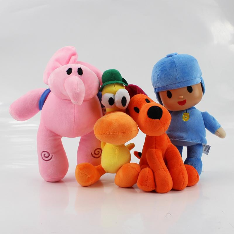 4pcs/lot 20-26cm Pocoyo Plush Elly Elephants plush Pato duck Stuffed Toys Animals Doll Toys For Kids Gifts LY191217