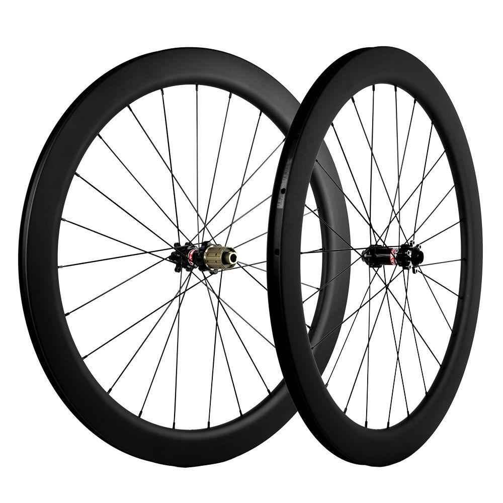 700C Clincher / sin cámara / tubular del freno de disco de carbono de ruedas 55 mm Profundidad 25 mm Anchura ruedas del carbón bicicleta de carretera UD Mate ruedas Novatec 6 tornillos