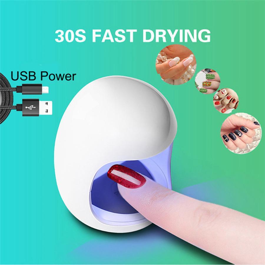 Portátil Mini Lâmpada LED Prego Secador de Carga USB 30 S Quick Dry Unhas Gel Manicure Para Nail Art 6 W RRA852