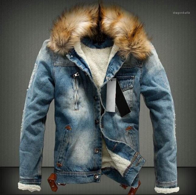 Abrigos de manga larga solo Breasted chaqueta para hombre lavado invierno Jean chaquetas otoño piel gruesa diseñador