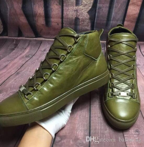 2019 Новые товары High Арена обувь Army зеленый Leather High Cut кроссовки Arena кроссовки Kanye West обувь Zapatillas HOMBRE мода обувь