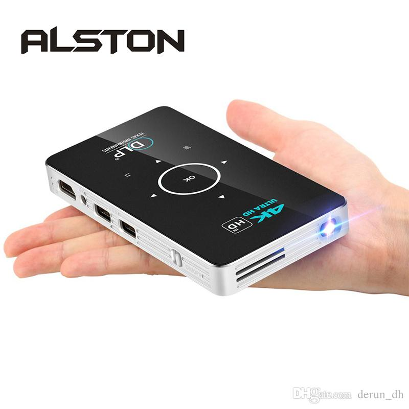 ALSTON C6 Mini 4K DLP Android Projector WiFi Bluetooth 4.0 Portátil LED Projetor de Vídeo Home Cinema Suporte Miracast Airplay