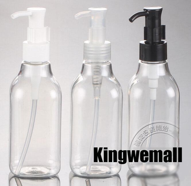 300pcs/lot 200ml Transparent pump bottle Can be used as Emulsion/Shampoo/Bath lotion /Sample bottle free shipping wholesale