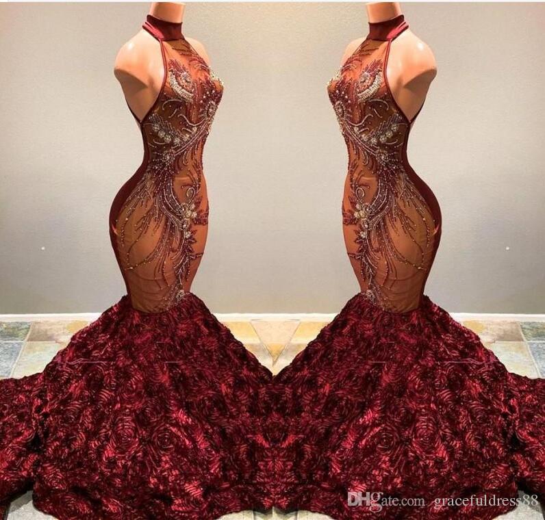 2019 Потрясающие Африканские Русалка Пром Платья Бургундия Длинные Высокие Шеи Бисероплетение Кристалл Оборками Цветы Женщины Sexy Pageant Party Платья Vestidos