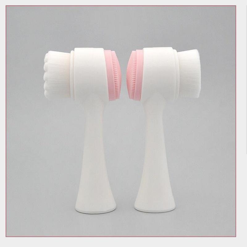 Manual de dupla em gel de sílica cabeça da escova facial caixa de PVC facial escova limpador limpeza cravo ferramenta composição beleza