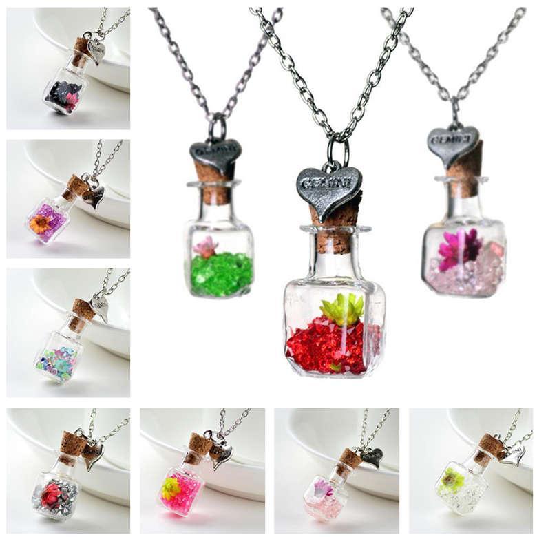 Fiore secco galleggiante Bottiglia collana quadrata di vetro di cristallo DJN287 sospensione mescolare l'ordine gioielli ciondolo collane