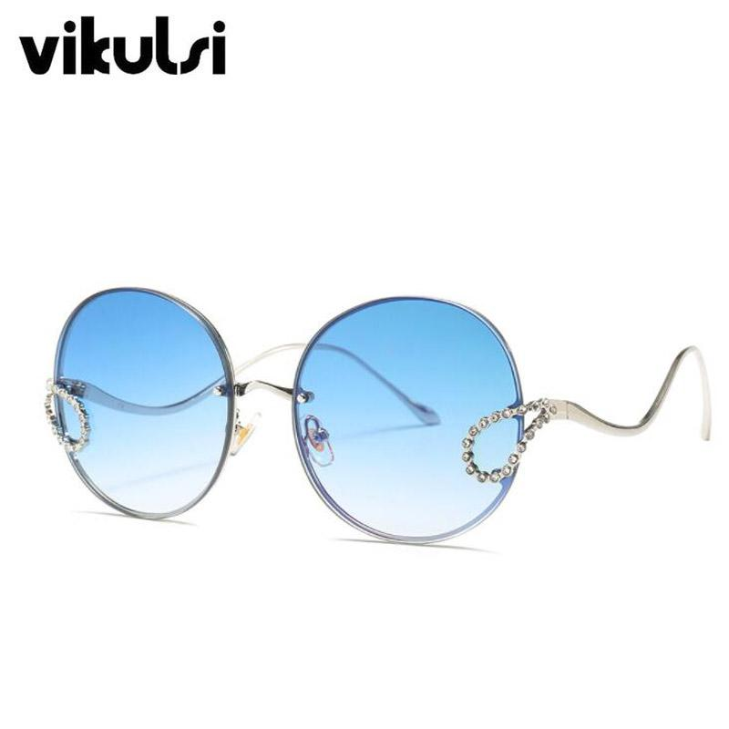 Oversized Round Crystal Designer Sunglasses Women 2019 Vintage Metal FrameBig Sun Glasses Oculos Pink Blue Eyewear UV400