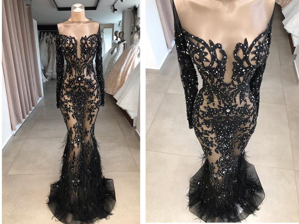 Großhandel Real Photo Black Lace Sheer Langarm Abendkleid Plus Size  Günstige 16 Trajes De Gala Feder Schwarz Mädchen Abendkleider Von  Hellobuyerh,