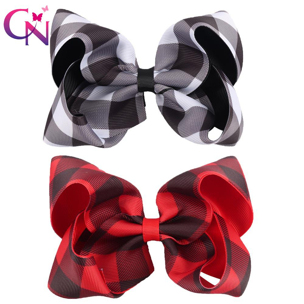 """8 Pieces/lot 5"""" Buffalo Plaid Hair Bows With Clips For Kids Girls Handmade Printed Ribbon Bows Hairgrips Hair Accessories J190507"""