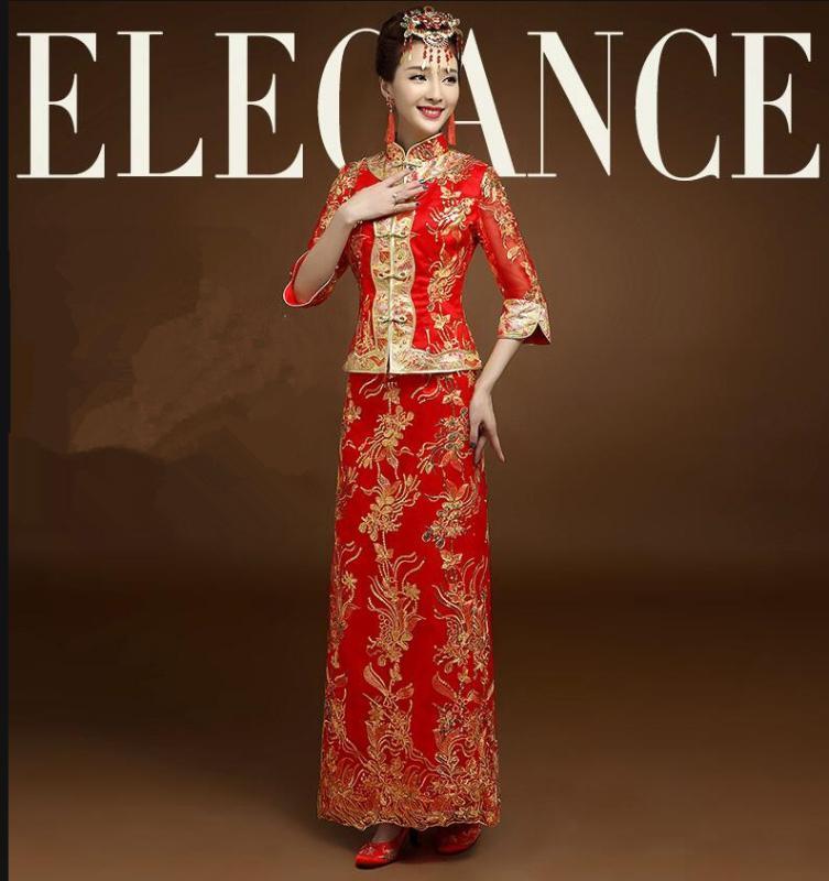 Etnik Giyim Yüksek Kalite Kırmızı Çin Gelinlik Kadın Cheongsam Gold Ince Geleneksel Kadınlar Qipao Parti için