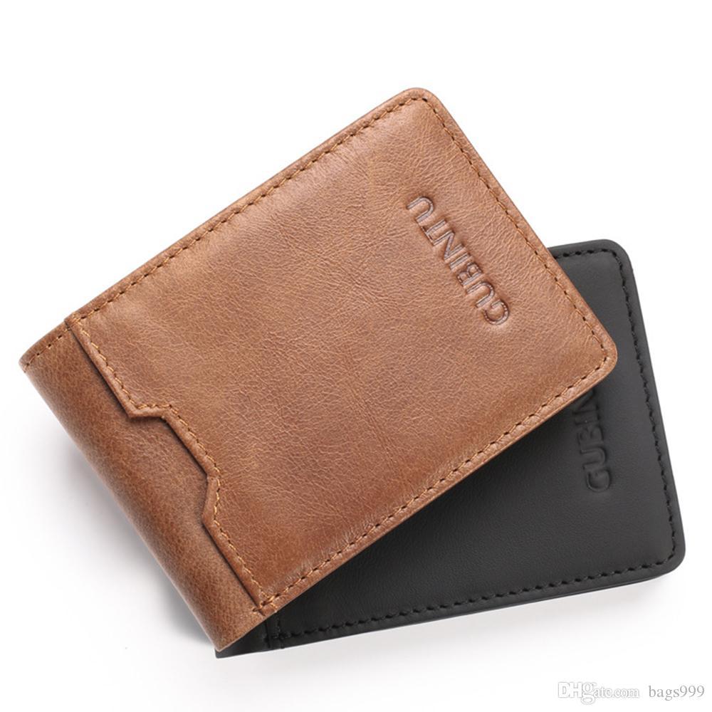 Men Wallet Pockets Secure Credit Card Holder Brown Rectangle Gift Layer 1 Fold