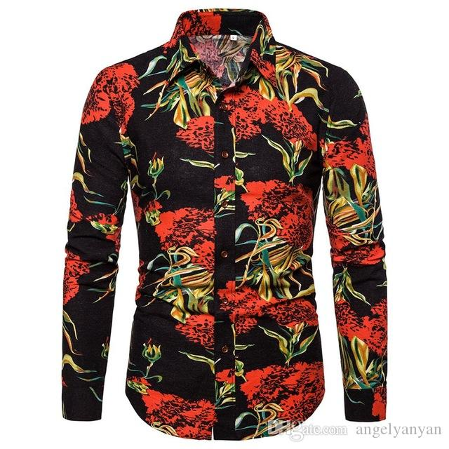 Floral Shirt Men Slim Fit Shirt Spring Summer Long Sleeve Shirts 2020 New Hawaii Shirts Blouse Male Top Man Dress M-5XL