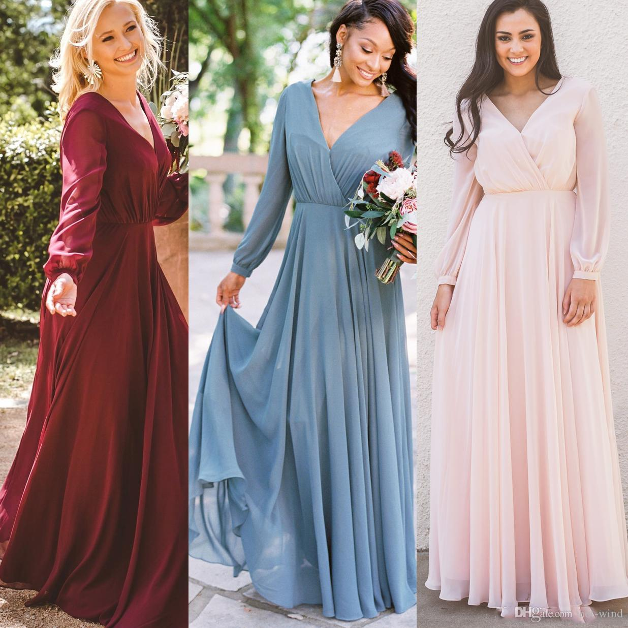 Borgonha-de-rosa da dama de honra Vestidos Chiffon mangas compridas V Neck Country Beach Convidado de Casamento vestido Boho Plus Size dama de honra vestido BM0238