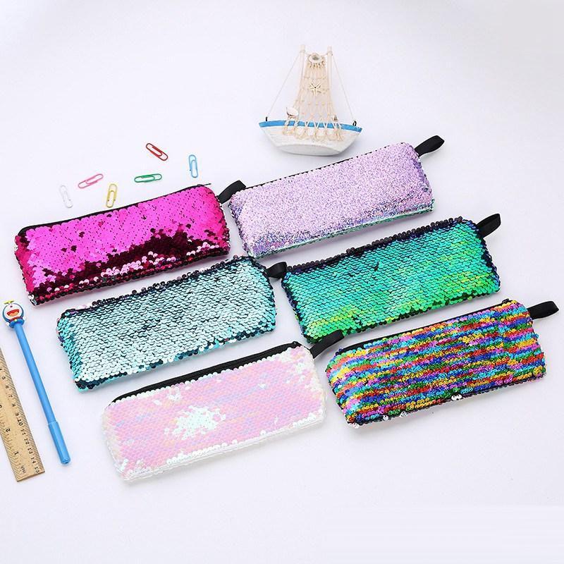 Nouveau design femmes sac de rangement à paillettes Étui à crayons étudiant Sac à cosmétiques paillettes sirène Sac cosmétique Papeterie changer de sac