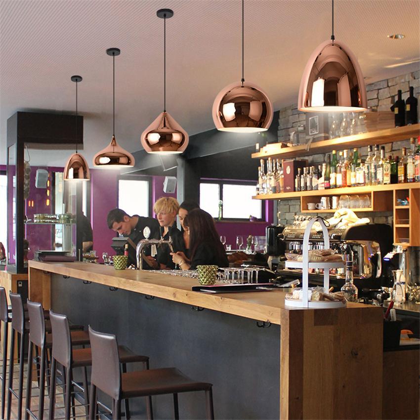 Nordic Rose Gold lustre pendente Lights Restaurant Modern Luxury Sala Quarto Cafe Bar única cabeça Lâmpadas de suspensão Luminárias