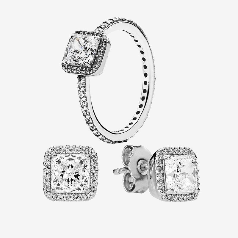 Alyans Küpe Orijinal kutusu ile Pandora Kare cz elmas zarif Halkalar Stud küpe otantik 925 Gümüş Takı setleri
