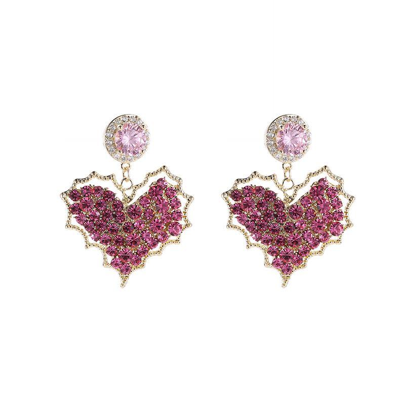 Korean fashion silver pin earrings female temperament wild color love earrings super flashing peach heart super fairy personality earrings